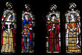Stained glass window depicting henry vii elizabeth of york katherine woodville and jasper tudor in cardiff castle cardiff Royalty Free Stock Images