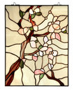 Stained glass window with floral pattern on white Stock Photos