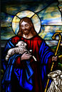 Stained Glass Window The Good Shepherd Royalty Free Stock Photo