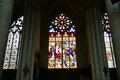 Stained glass window gothic cathedral of saint gatien built between and tours france Royalty Free Stock Photography