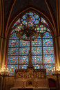 Stained glass window inside the church catholic Royalty Free Stock Photos