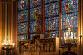 Stained glass window inside the church catholic Royalty Free Stock Photography