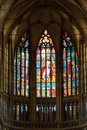 Stained glass window inside the church prague Stock Image