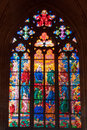 Stained glass window inside the church prague Stock Images
