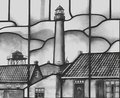 Stained glass window with lighthouse Stock Photo