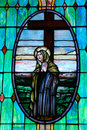 Stained Glass Window of Mother Mary Stock Photos