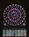 Stained Glass Window of Notre Dame Royalty Free Stock Photography