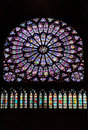 Stained glass window in Notre dame cathedral, Pari Royalty Free Stock Photo