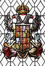 Stained glass window with old spanish coat of arms th century Stock Images
