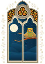 Stained glass window with a owl on branch at night Stock Image