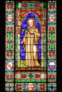 Stained glass window with a saint Royalty Free Stock Photos