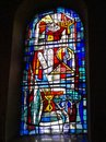 Stained glass window at Saint Michael`s Church - the oldest religious site in Luxembourg City, close picture Royalty Free Stock Photo