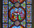 Stained glass window showing the death of the fiirst born