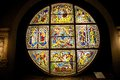 Stained glass window from the Siena Cathedral, Tuscany, Italy Royalty Free Stock Photo