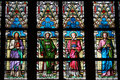 Stained-glass window in St.Vitus cathedral in Prag Royalty Free Stock Images