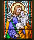 Stained Glass - Saint Joseph and Child Jesus Royalty Free Stock Photo