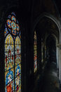 Stained Glass Windows & Arched Hallway - Abandoned Church Royalty Free Stock Photo