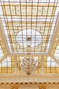 Stained Glass Windows Ceiling with Gold Chandelier Royalty Free Stock Photo