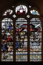 Stained glass windows in the church depicts The Parable of Those Invited to the Wedding Feast, Saint Etienne du Mont Church, Paris Royalty Free Stock Photo