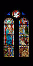 Stained glass windows church interior Royalty Free Stock Photos