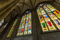 Stained glass windows in the cologne cathedral Stock Photo