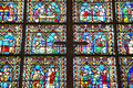 Stained glass windows inside the Notre Dame Cathedral, Paris, France Royalty Free Stock Photo