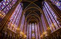 Stained glass windows inside the Sainte Chapelle in Paris, France.