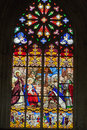 Stained glass windows of saint gatien cathedral in tours france Royalty Free Stock Image
