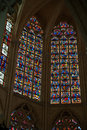 Stained glass windows of saint gatien cathedral in tours france Royalty Free Stock Photo