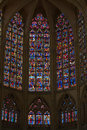 Stained glass windows of saint gatien cathedral in tours france Royalty Free Stock Photography