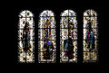 Stained glass windows saint malo cathedral france of st vincent brittany Stock Image