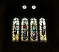 Stained glass windows saint malo cathedral france of st vincent brittany Royalty Free Stock Photo