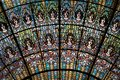 Stained-glasss skylight detail. Palau de la Musica Catalana, Concert Hall by Lluis Domenech i Montaner. Barcelona, Catalonia. Royalty Free Stock Photo