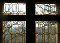 Stained renaissance window glass in old flemish castle in belgium Royalty Free Stock Photos