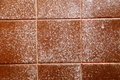 Stained shower tile brown bathroom with water and mold stains Royalty Free Stock Photography
