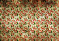 Stained vintage floral wallpaper background texture of with discoloured patches and a busy repeat pattern of pink roses with Stock Photo