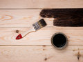 Staining wood stain Royalty Free Stock Photo