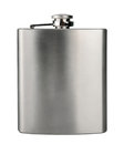 Stainless hip flask isolated on white background Royalty Free Stock Photo