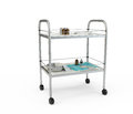 Stainless metal medical supply cabinet placed on a trolley d illustration isolated against white background Royalty Free Stock Photos