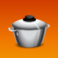 Stainless pan a on a orange background vector illustration Royalty Free Stock Photography
