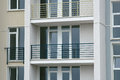 Stainless steel balcony on the modern building Royalty Free Stock Photo