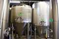 Stainless steel containers at oakshire brewing eugene or usa july fermenters in the room brewery a small craft beer maker in the Stock Photos
