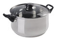 Stainless steel cooking pot with glass top cover Royalty Free Stock Photo
