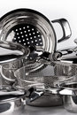 Stainless steel cooking pots Royalty Free Stock Photo