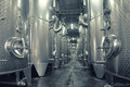 Stainless steel fermenters used to make wine Royalty Free Stock Photo