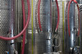 Stainless steel fermenters in a winery Royalty Free Stock Photo
