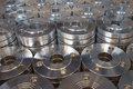 Stainless steel flanges piles of Royalty Free Stock Photo