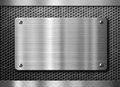 Stainless steel metal plate or nameboard Royalty Free Stock Photo