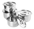 Stainless steel pot on a background Royalty Free Stock Photography