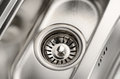 Stainless steel sink drain closeup Royalty Free Stock Photo